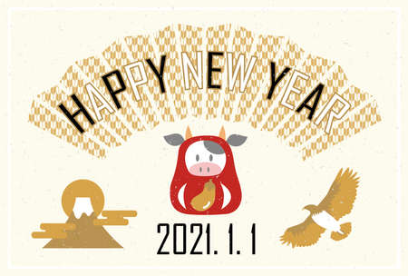New Year's card Yoko Tsuji year postcard Japanese style 2021の素材 [FY310156106941]