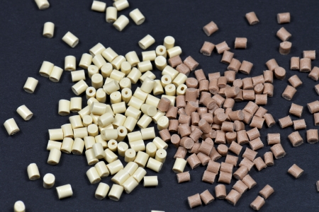 Polymer resins for injection moulding process on black