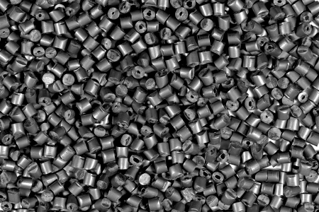close up of gray metallic polymer resin in laboratory