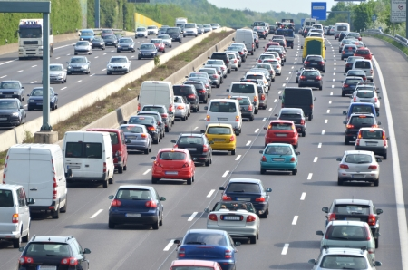 Traffic jam on german highway  Current discussion about toll collect for foreign cars due to the claim of bavarias prime minister Horst Seehofer