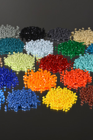 dyed polymer resin in lab for injection moulding process