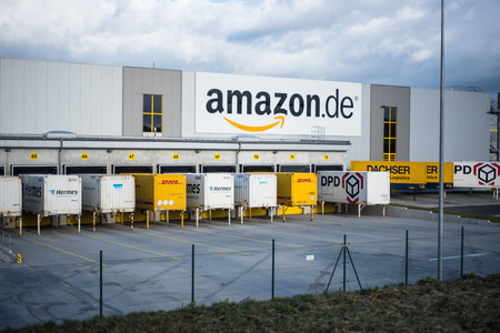 base of online trader Amazon in Germany (Koblenz) at stormy day