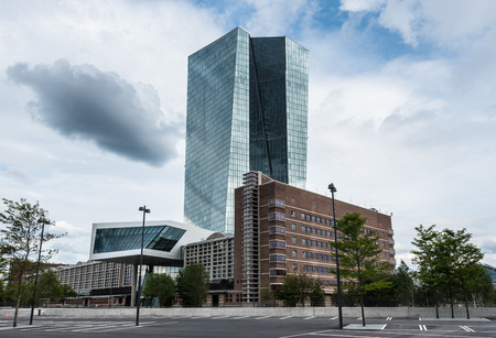 Very new building of European Central Bank ECB in Frankfurt Germany
