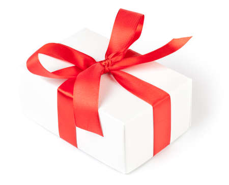 Photo for Gift box with red ribbon on white. This file is cleaned, retouched and contains clipping path. - Royalty Free Image
