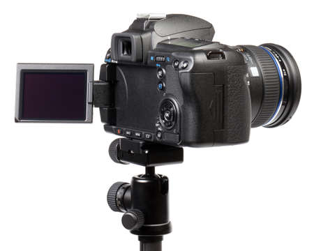 Photo pour Digital camera on tripod. This file is cleaned, retouched and contains . - image libre de droit