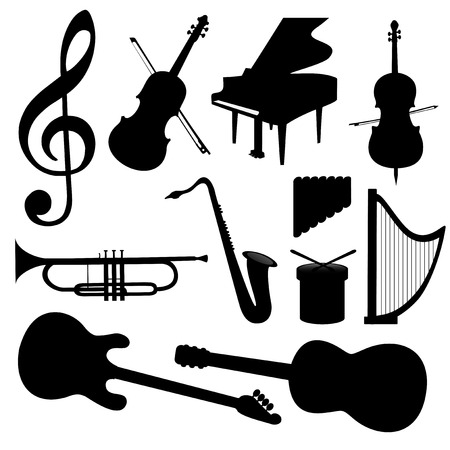 Music Instruments silhouette - Vector