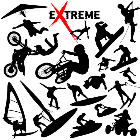 Vector eXtreme sport silhouettes