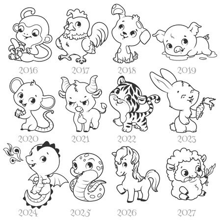Ilustración de Set of zodiac signs in cartoon style. Chinese zodiac. Vector illustration isolated on a white background. - Imagen libre de derechos