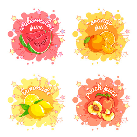 Foto für Four stickers with different fruit juices. Watermelon, orange, lemon and peach. Vector cartoon illustration isolated on a white background. - Lizenzfreies Bild