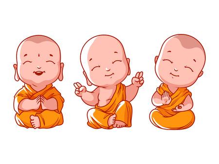Illustration pour Set of little meditating monks. Vector cartoon illustration on a white background. - image libre de droit