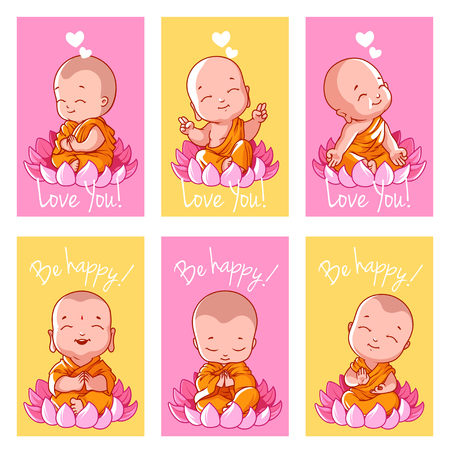 Illustration pour Set of cute cards with Buddha. Vector illustration isolated on a white background. - image libre de droit