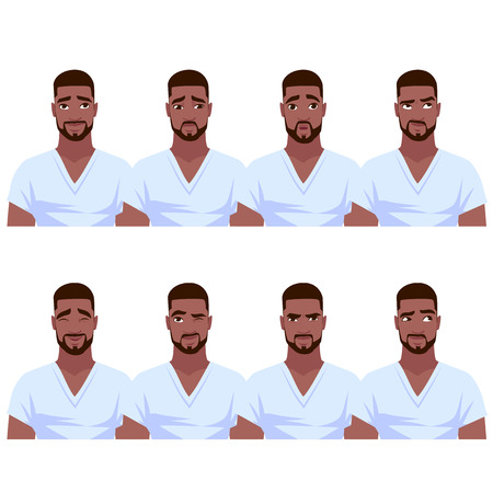 Illustration pour Set of African American man's emotions. Vector cartoon illustration. - image libre de droit