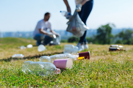Foto per Devoted energetic people collecting litter on a grass - Immagine Royalty Free