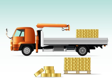 lorry crane with golden bricks
