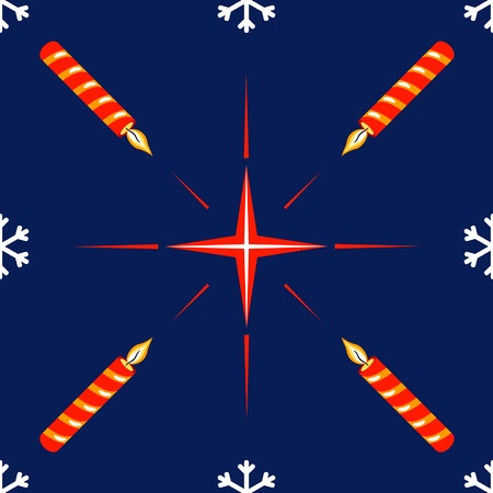 seamless pattern with christmas star and candles