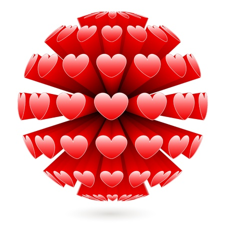 3d sphere with red hearts