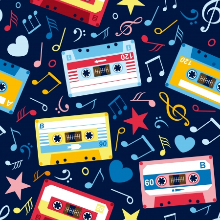 seamless pattern with music notes and old cassettes