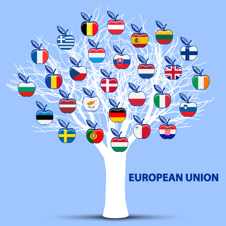 white tree with european union flags apples