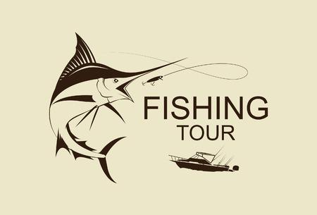 illustration fishing marlin symbol vetor