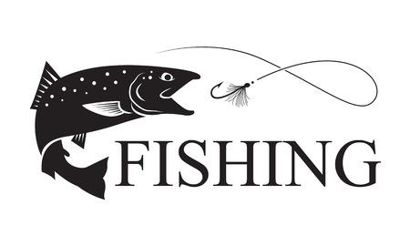 Ilustración de fishing salmon, vector - Imagen libre de derechos