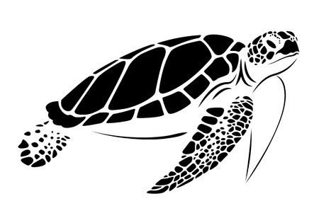 Ilustración de graphic sea turtle, vector - Imagen libre de derechos