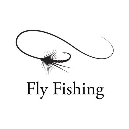 Ilustración de icon fly fishing hook, vector - Imagen libre de derechos