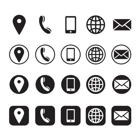 Illustration pour contact information icons, vector - image libre de droit