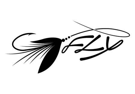 Ilustración de graphic fly fishing - Imagen libre de derechos