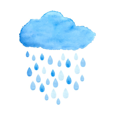 Rain (nimbus) cloud precipitation with rain drops. Watercolor illustration in vector.のイラスト素材