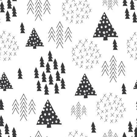 Ilustración de Seamless scandinavian style simple illustration christmas tree theme background - Imagen libre de derechos