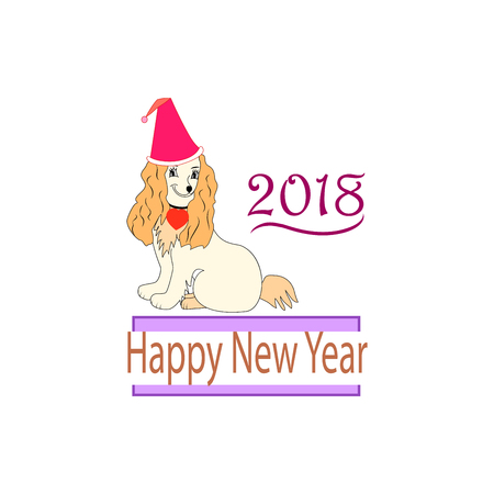 Modern stylis card. Dog is a symbol of the 2018 Chine New Year. Fashion graphic background design. Colorful abstract texture template for prints, textiles, wrapping, wallpaper. Vector illustration