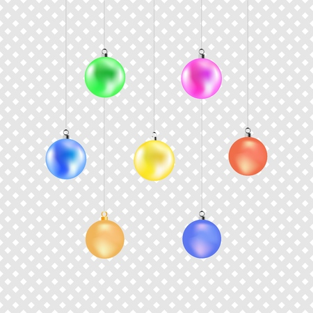 Christmas color ball. Colorful decoration illustration on gray background. Symbol merry christmassy and celebration winter, for card. Isolated graphic element. 3D vector image. Vector illustration