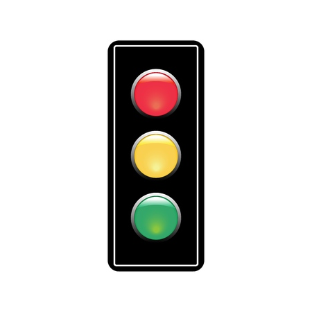 Illustration for Stoplight sign. Icon traffic light on white background. Symbol regulate movement safety and warning. Electricity semaphore regulate transportation on crossroads urban road. Flat vector illustration. - Royalty Free Image