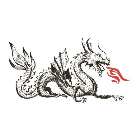 Illustration pour Chinese Dragon as China Symbol and Attribute Vector Illustration. Hand Drawn Flying Monster as Astrological Symbol Concept - image libre de droit