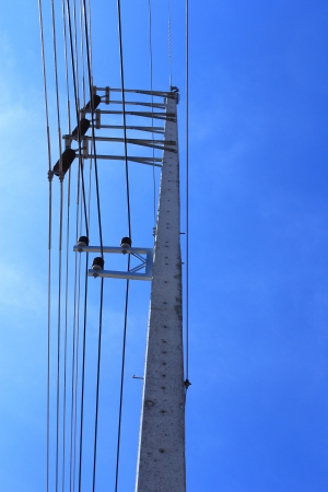 Electricity post at Blue Sky Background