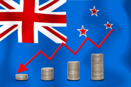 The economic going down of the New Zealand, with a head shot arrows down from the top medals.