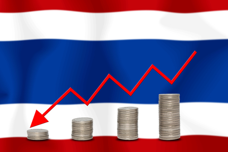 The economic going down of the Thai, with a head shot arrows down from the top medals.