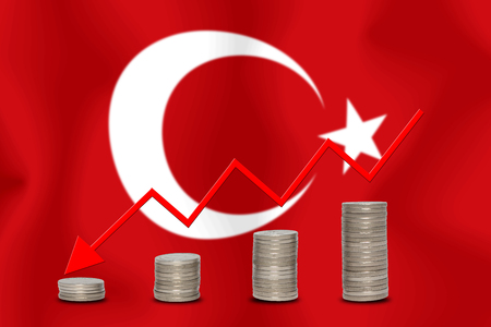 The economic going down of the Turkey, with a head shot arrows down from the top medals.
