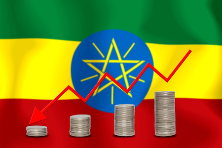 The economic going down of the ETHIOPIA, with a head shot arrows down from the top medals.