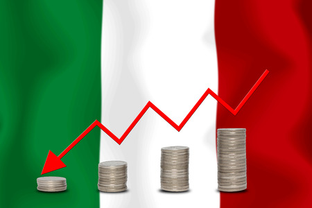 The economic going down of the ITALY, with a head shot arrows down from the top medals.