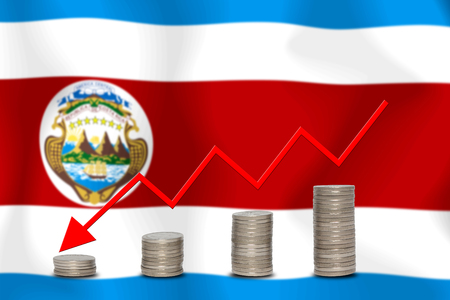 The economic going down of the Costa Rica, with a head shot arrows down from the top medals.