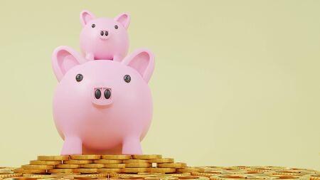 Photo pour Business loans for real estate concept, a Pink piggy bank with dollar coins.saving money and. work from home to avoid viruses corona virus COVID-19. 3d rendering. - image libre de droit