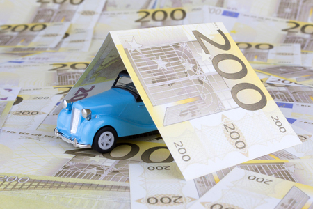 200 Euro money with toy car