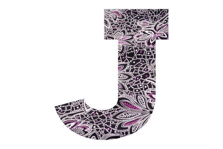Foto de Letter J – with floral fabric texture on white background - Imagen libre de derechos