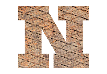 Letter N – with rusty metal texture on white background