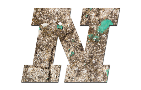 Letter N alphabet with old  wall on white background