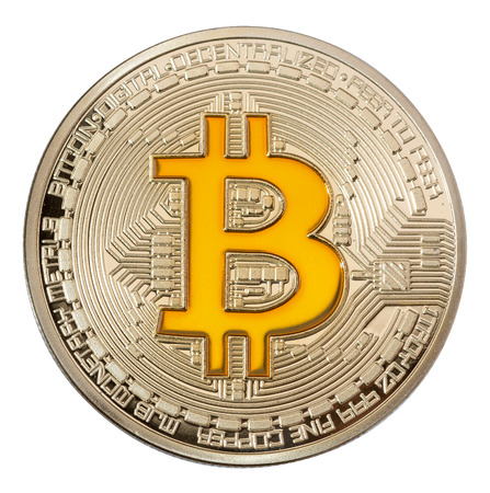Photo pour Close up image of golden bitcoin on white backgrouond. High resolution photo. - image libre de droit