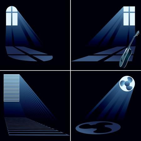 light beams inside window - set  vector eps