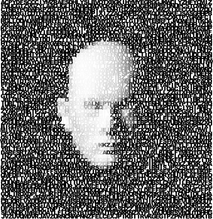 3d digital face created from lettering