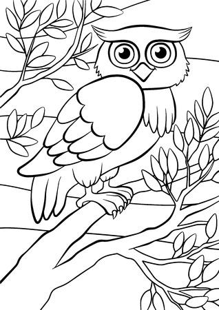 Ilustración de Coloring pages. Birds. Cute owl sits on the tree. - Imagen libre de derechos